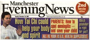 Manchester Evening News cover with details of Tai Chi artile on health featuring Master Liming Yue