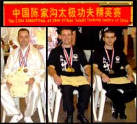 Steve Burton, Ploutarchos Vlachopoulos and Neil Grimley with their medals from The Elite Competition of the Chen Village Tai Chi Training Centre of China.